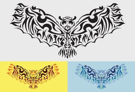 spread wings: Owl spread wings tribal art graphic style. Illustration