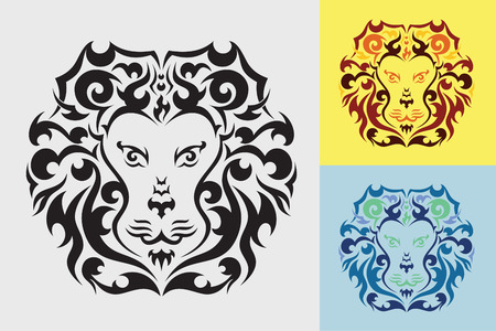graphic art: Lion tribal art graphic style.