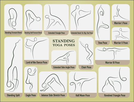 Yoga stand poses set in gesture drawing line with posture name. Illustration