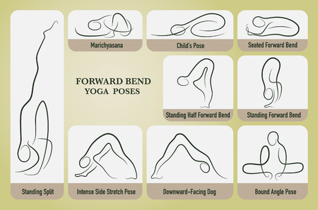 bend: Yoga forward bend poses set in gesture drawing line with posture name.