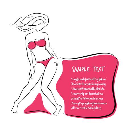 Sexy and Healthy Bikini Girl Full-body Pose in Bikini.