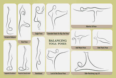 Yoga balancing poses set in gesture drawing line with posture name.