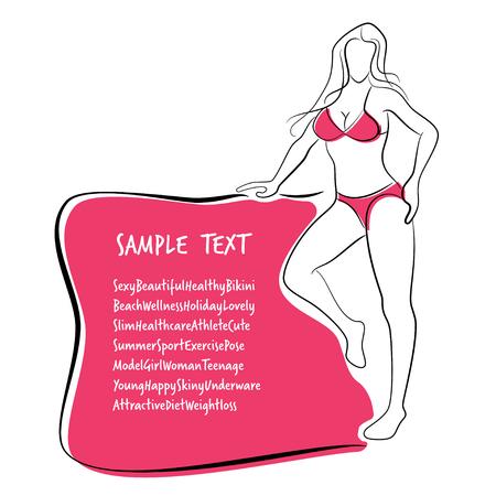 body slim: Sexy and Healthy Bikini Girl Full-body Pose in Bikini.