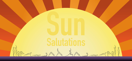 salutation: Yoga sun salutation pose step in gesture drawing line with sun on background.