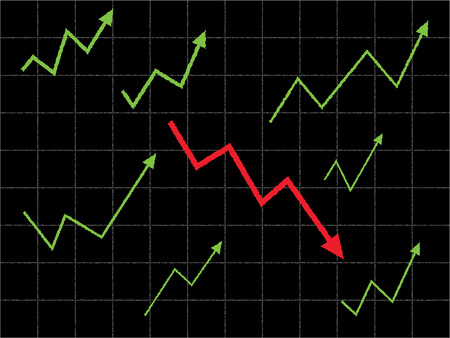vision loss: Stock market graph with different and down trend concept. Illustration