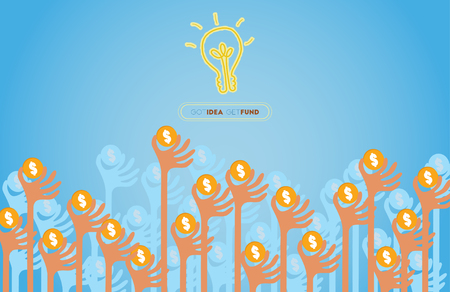Crowdfunding concept with hands holding dollar coin raise up to give their support to idea light bulb.