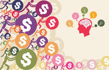 concepto de crowdfunding con la gente que empuja la moneda del dólar para dar su apoyo al cerebro y gráfico de la cabeza con la bombilla. Ilustración de vector