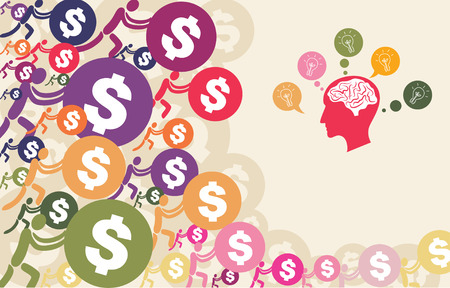 Crowdfunding concept with people pushing dollar coin to give their support to brain and head graphic with light bulb. Illustration