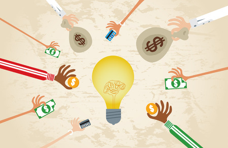 Crowdfunding concept with hands holding money to give their support around brain light bulb idea. Vectores