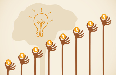 raise: Crowdfunding concept with hands holding dollar coin raise up to give their support to brain light bulb idea. Illustration