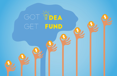initiator: Crowdfunding concept with hands holding dollar coin raise up to give their support to brain light bulb idea. Illustration