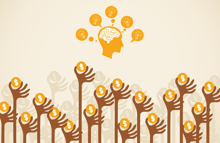 initiator: Crowdfunding concept with hands holding dollar coin raise up to give their support to brain and head graphic with light bulb. Illustration