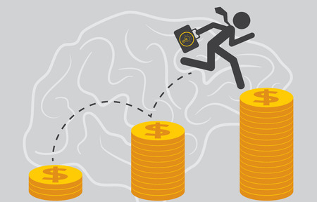 newbie: Businessman jump up the dollar coin and holding his bags with business startup and crowdfunding concept.
