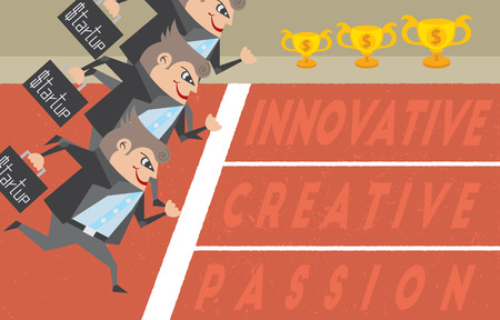 initiator: Businessmen running and holding their bags with business startup concept. Illustration