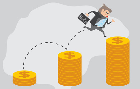 eager: Businessman jump up the dollar coin and holding his bag with business startup and crowdfunding concept.