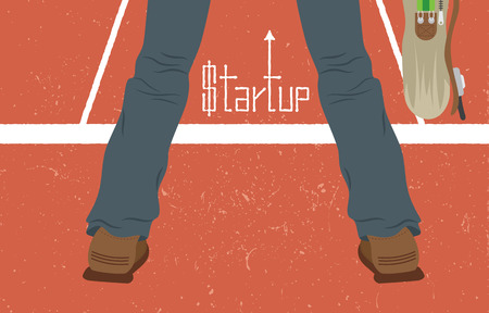 newbie: A Man standing and holding a bag to be ready to run with business startup concept.