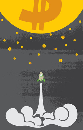 Rocket goes up to the moon and stars of dollar sign with business startup concept.