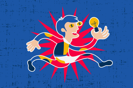eager: Businessman cartoon character running and holding idea light bulb with dollar sign eyes.