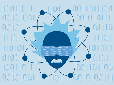 against the flow: Data science and communication concept with scientist head wearing data glasses against flow of information background.