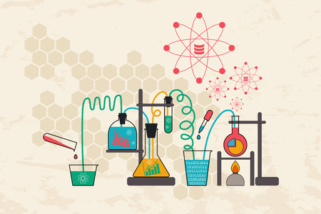 information science: Data science and analysis concept in chemical science lab with database and flow of information.