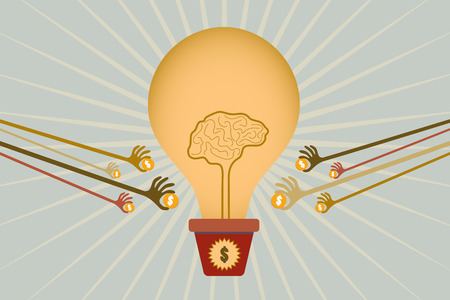 give money: Crowdfunding concept with hands holding money to give their support to grow brain light bulb idea in jar. Illustration