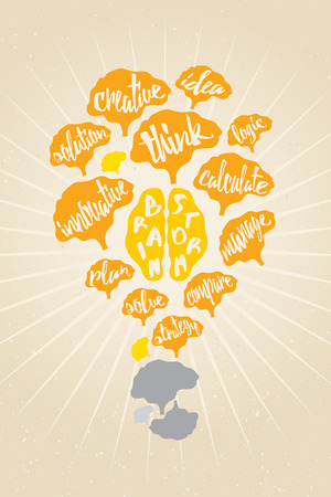 initiator: Brain Storm concept with many brains and wording in shape of light bulb.