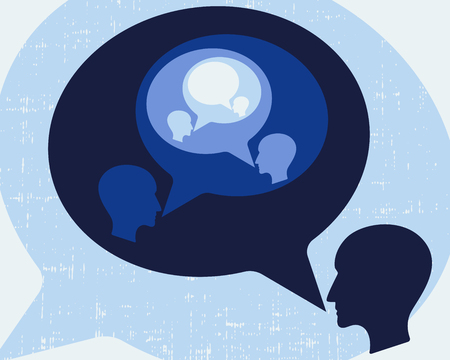 talking dictionary: Communication concept with person and speech bubble.