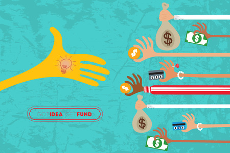 initiator: Crowdfunding concept with hands holding money to give their support the idea. Illustration
