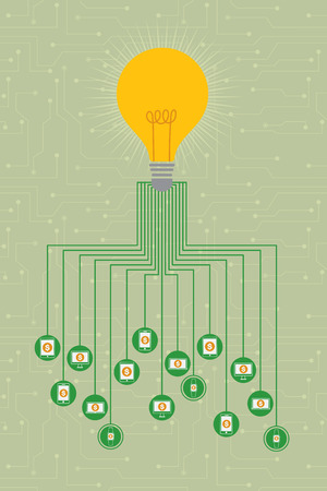 fund: Crowdfunding concept with transferring fund through hi technology devices. Illustration