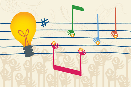 initiator: Crowdfunding concept for music industry with hands holding coin in shape of music note. Illustration