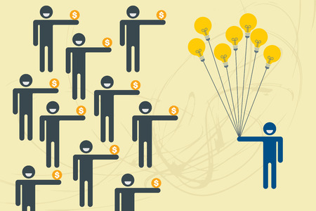 give money: Crowdfunding concept with people holding money to give their support a man with idea balloon. Illustration