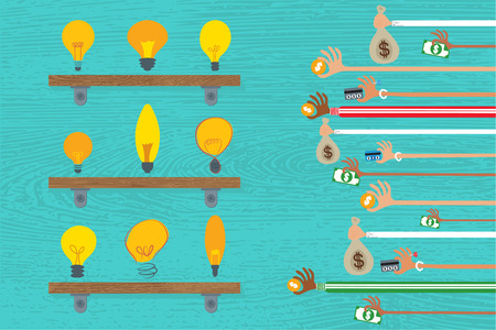 giving money: Crowdfunding concept with many hands giving money to variety light bulb idea.