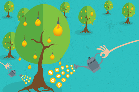 give money: Crowdfunding concept with hand holding a bucket of coins to growing idea tree.