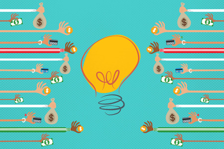 many hands: Crowdfunding concept with many hands giving money to a light bulb idea.