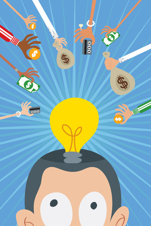 Crowdfunding concept with many hands giving money to a man with good idea represented with a light bulb in his head.