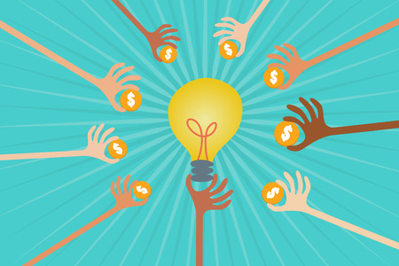 lend a hand: Crowdfunding concept with hands holding money to give their support around light bulb idea. Illustration