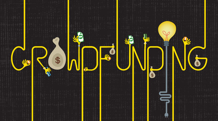 Lettering of Crowdfunding with many hands giving money and a light bulb idea. Illustration