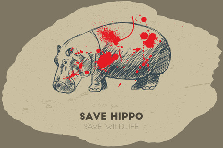 gun shot: Save hippo save wildlife. Gun shot with blood over hippo. Illustration