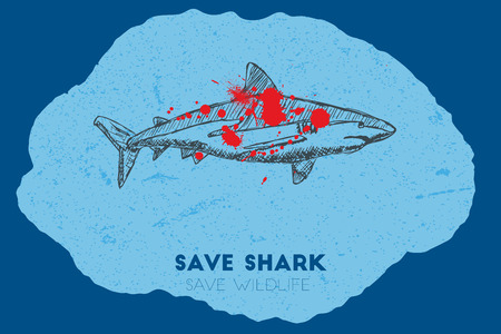 gun shot: Save shark save wildlife. Gun shot with blood over shark.