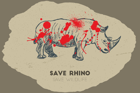 gun shot: Save rhino save wildlife. Gun shot with blood over rhino. Illustration