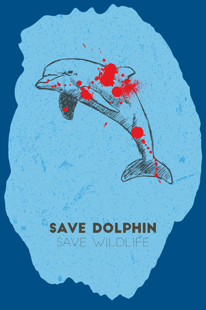 gun shot: Save dolphin save wildlife. Gun shot with blood over dolphin.