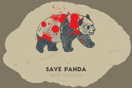gun shot: Save panda save wildlife. Gun shot with blood over panda. Illustration