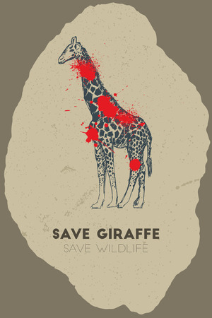 gun shot: Save giraffe save wildlife. Gun shot with blood over giraffe. Illustration
