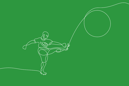 Soccer graphic using single line to design and form the shape of player kicking the ball. Illustration