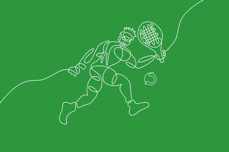 Tennis graphic using single line to design and form the shape of tennis player.