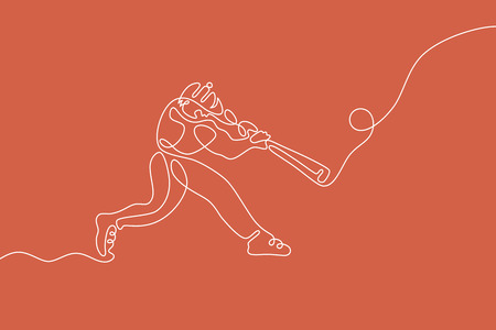 Baseball graphic using single line to design and form the shape of player hitting the ball for home run. Illustration