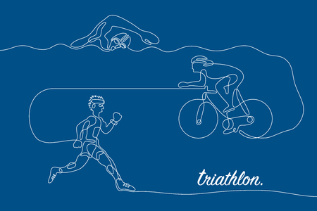 single line: Triathlon graphic using single line to design and form the shape of triathletes are swimming running and cycling. Illustration