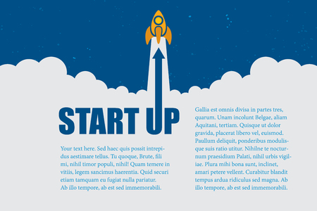 Business idea with startup concept layout using rockets fly up and space for text.