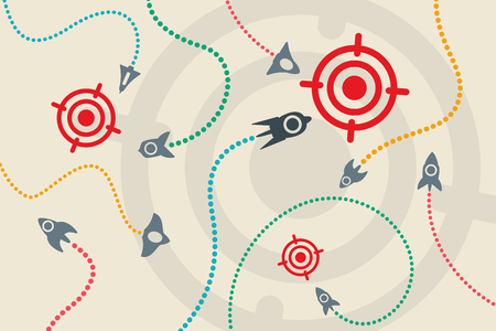 idea icon: Business idea with startup concept using rockets fly around to the targets.