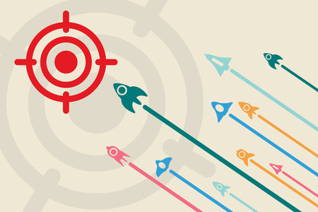 idea icon: Business idea with startup concept using rockets fly up to the target.
